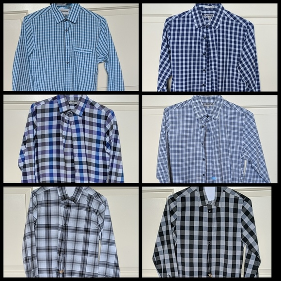 Express Other - 6-PC BUNDLE Express Men Fitted Plaid Dress Shirts!